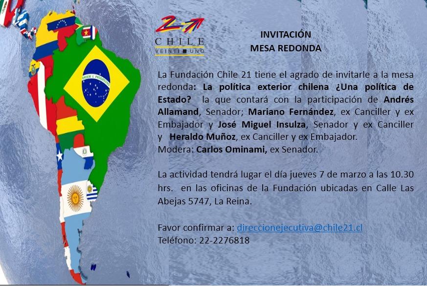 Mesa Redonda: La política exterior chilena ¿Una política de Estado?