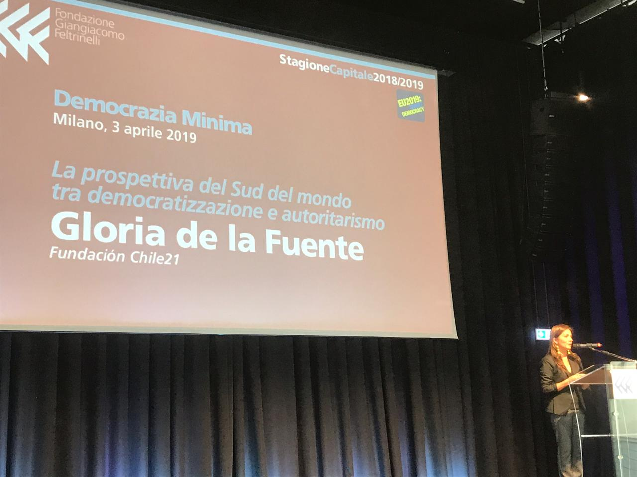 "Presidenta de Chile 21 participa como expositora en el ""Secondo Forum sul futuro della democrazia"" organizado por la Fondazione Giangiacomo Fertrinelli"