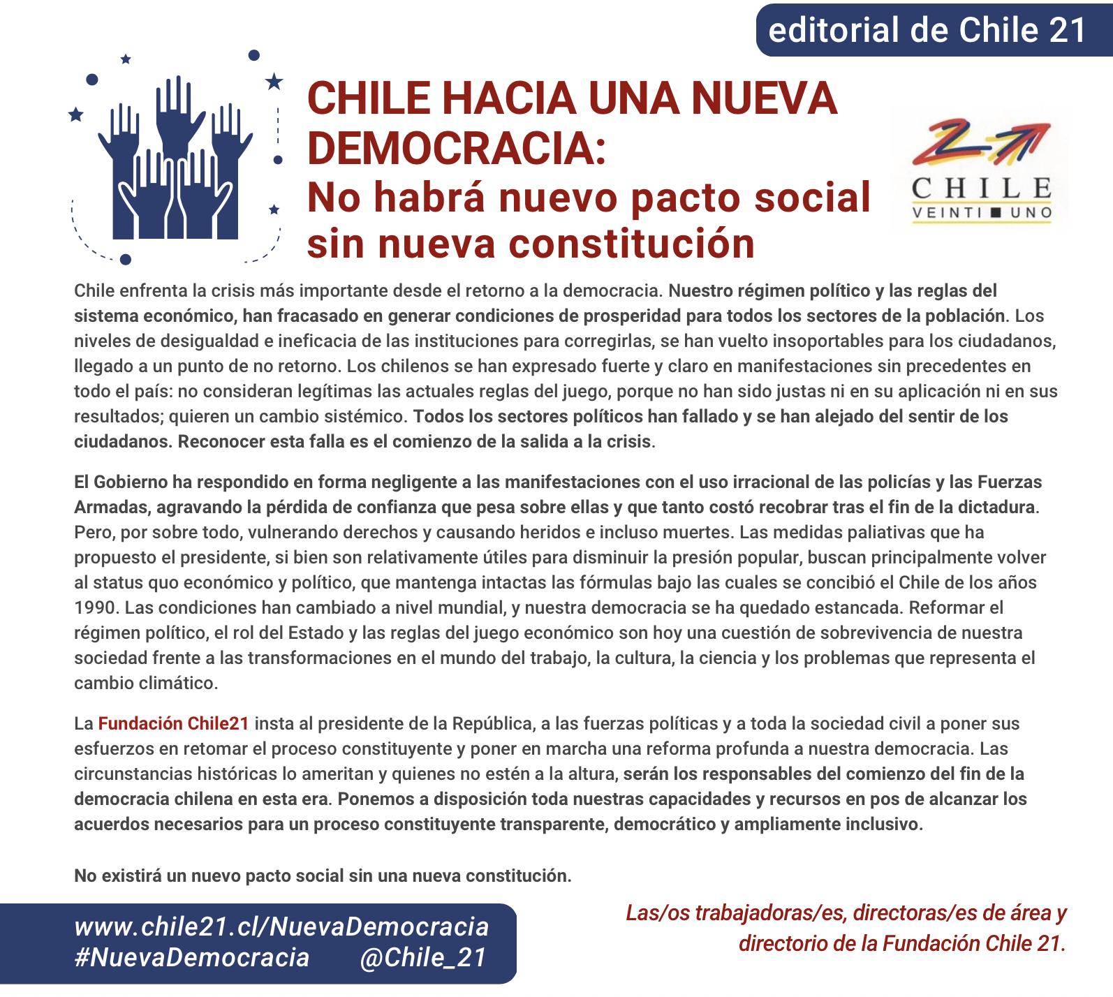 Chile hacia una nueva democracia: No habrá nuevo pacto social sin nueva constitución