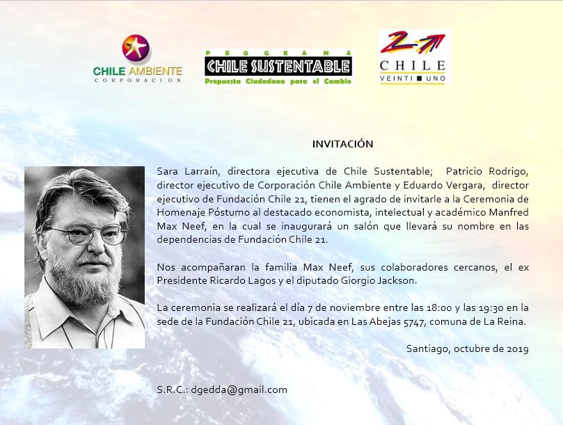 Invitación: Homenaje Póstumo a Manfred Max Neef