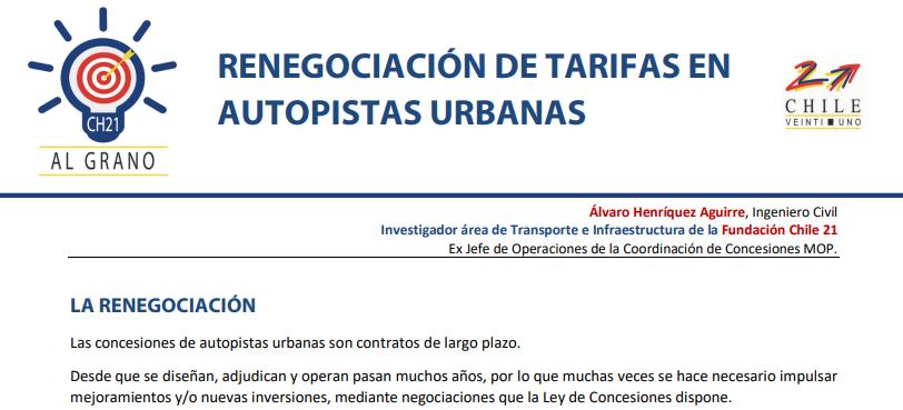 ☝🏼MINUTA CHILE 21 – 🚌🚗🚚RENEGOCIACIÓN DE TARIFAS EN AUTOPISTAS URBANAS: Respecto a la eliminación del 3,5% de reajuste a peajes en autopistas urbanas de Santiago, algunas consideraciones y dudas de fondo y de forma.