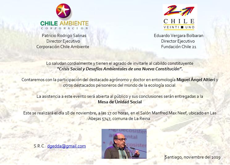 """Invitación: """"Crisis Social y Desafíos Ambientales de una Nueva Constitución"""""""