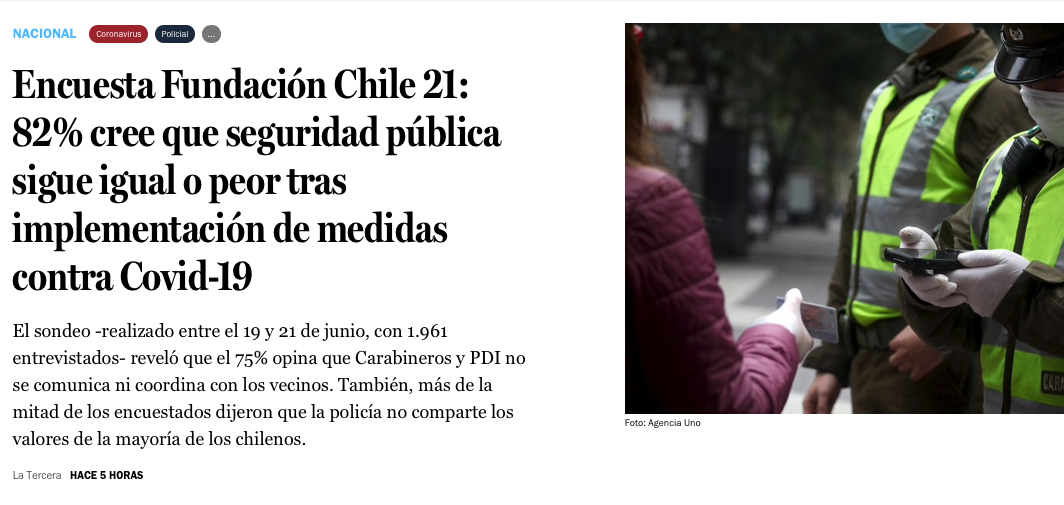 Encuesta Fundación Chile 21: 82% cree que seguridad pública sigue igual o peor tras implementación de medidas contra Covid-19